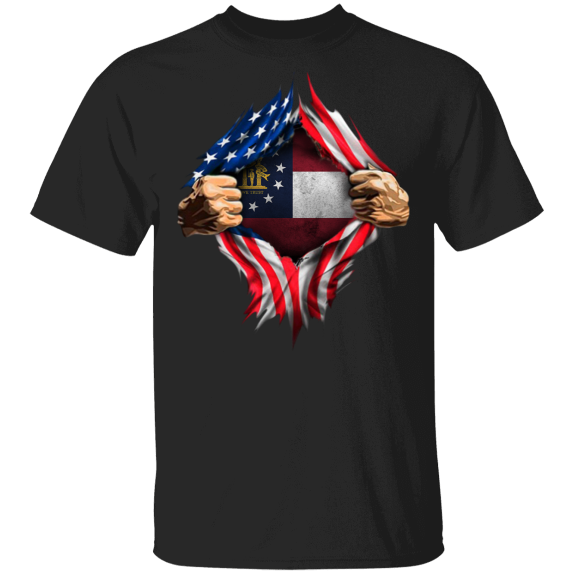Georgia Heartbeat Inside American Flag T-Shirt 4th Of July Shirts Patriotic Gifts For Him