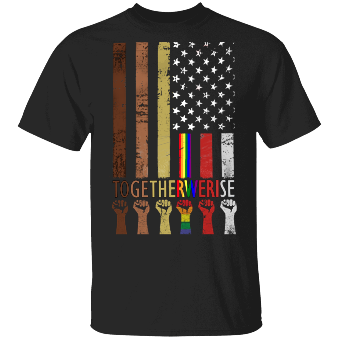 American Flag Together We Rise T-Shirt Juneteenth Be Kind Asl Shirt 4th Of July Shirts