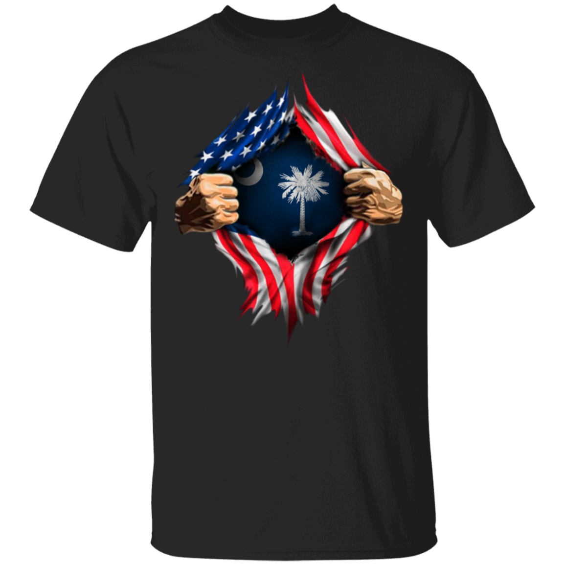South Carolina Heartbeat Inside American Flag T-Shirt Patriotic Clothing For Men