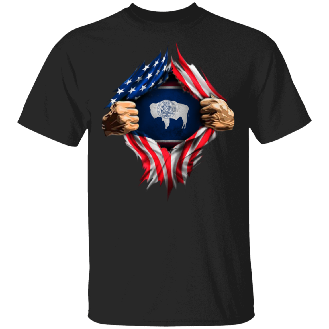 Wyoming Heartbeat Inside American Flag T-Shirt 4 Of July Shirts