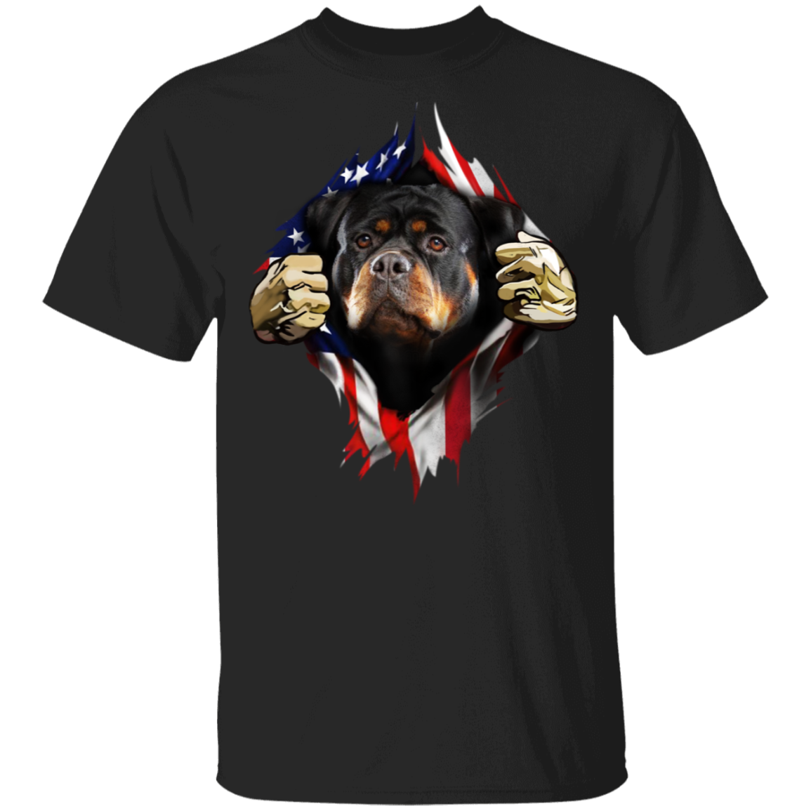 Rottweiler Inside American Flag T-Shirt 4th Of July Flag Patriotic Gift