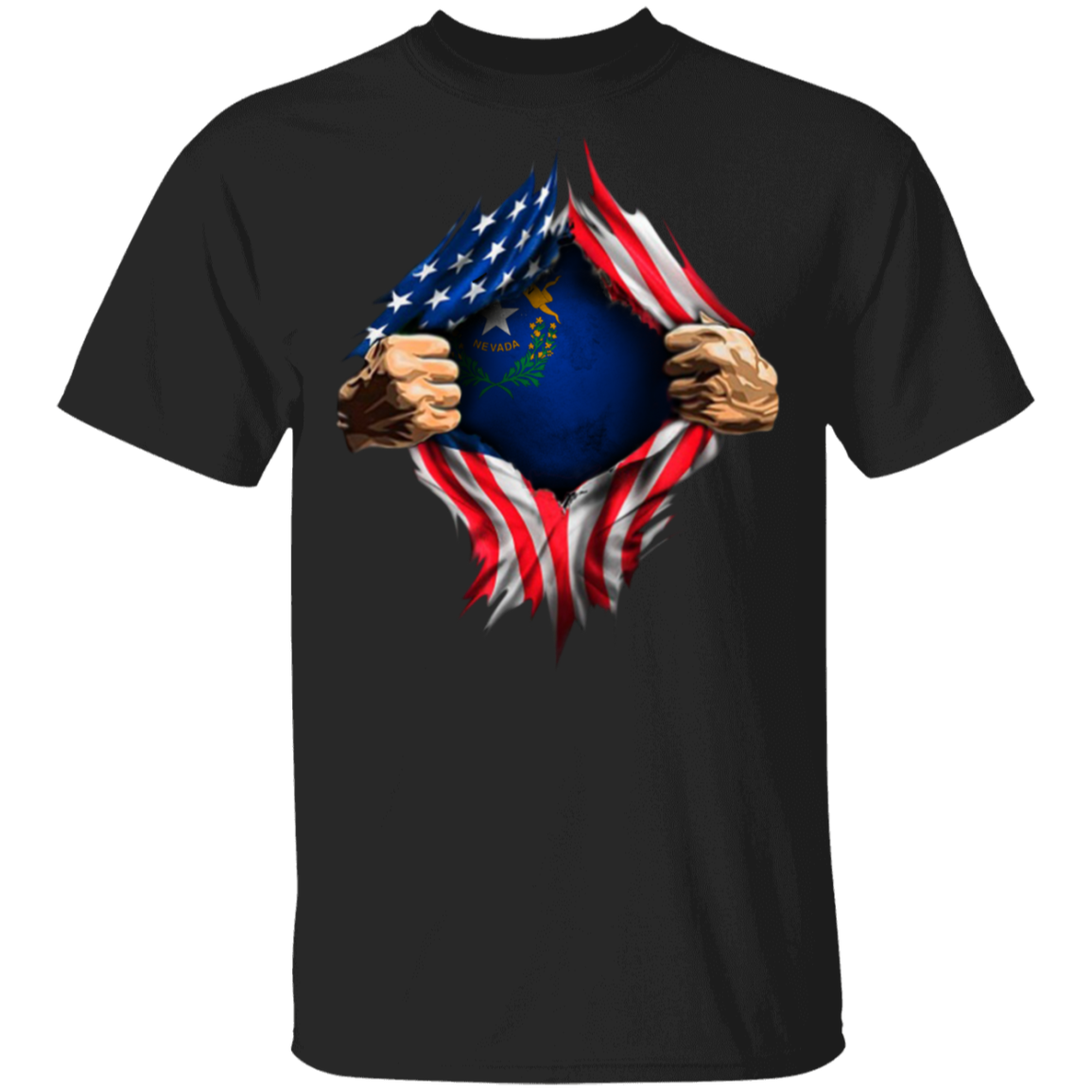 Nevada Heartbeat Inside American Flag Shirt Fourth Of July Mens And Womens T-Shirts