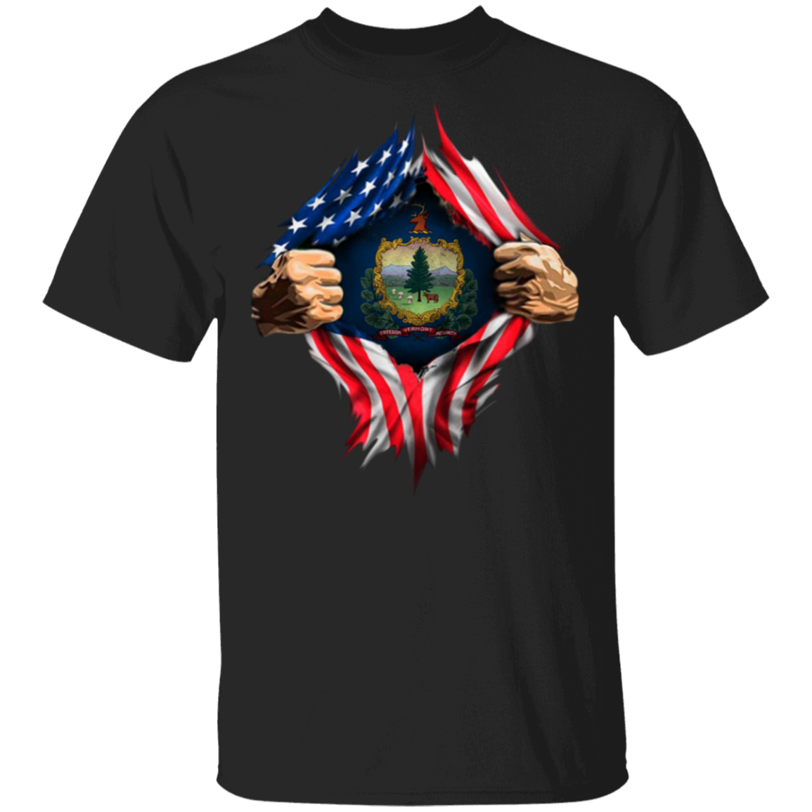 Vermont Heartbeat Inside American Flag T-Shirt Fourth Of July Shirt Ideas