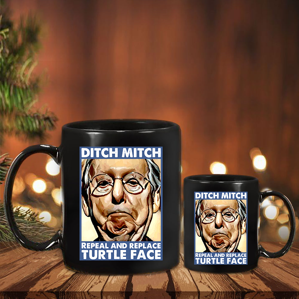 Fuck Mitch McConnell Mug Repeal And Replace Turtle Face Anti McConnell Political Merch