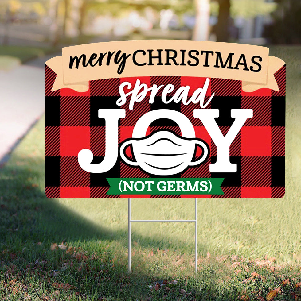 Merry Christmas Spread Joy Not Germs Yard Sign Funny Christmas 2020 Sign Pandemic Joy Sign
