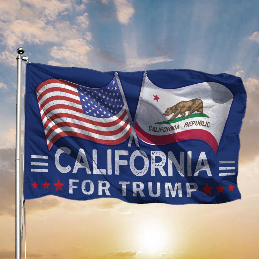 American And California For Trump Flags Support For President