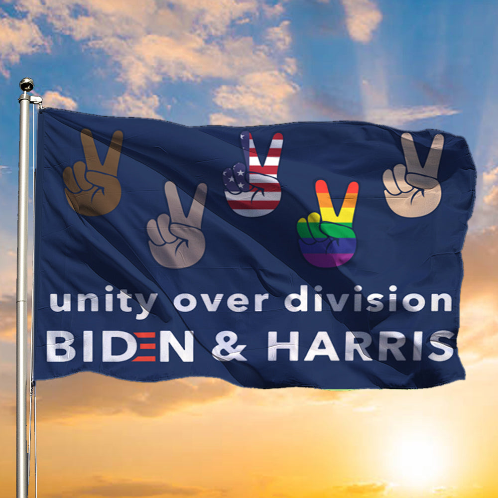 Unity Over Division Biden And Harris Flag Patriotic LGBT Voters Biden Political Lawn Flags