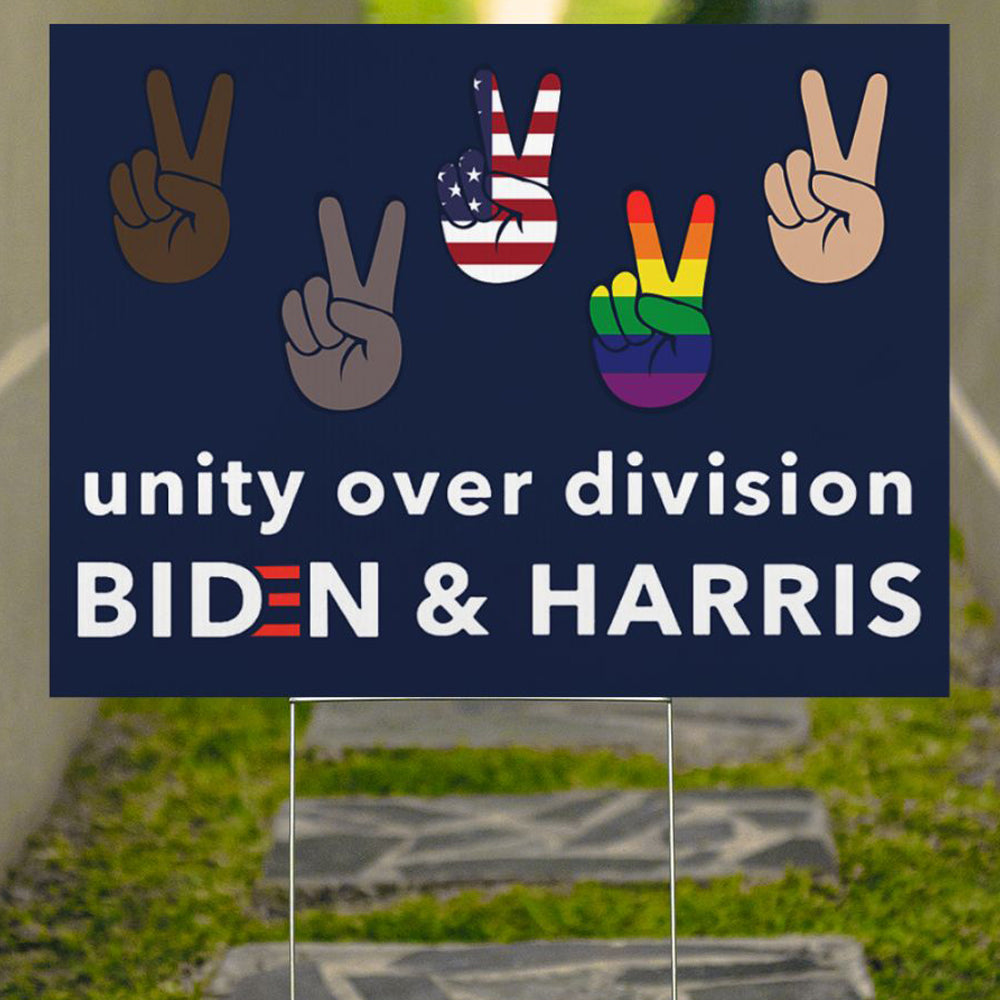 Unity Over Division Biden And Harris Yard Sign Patriotic LGBT Voters Biden Political Sign BLM