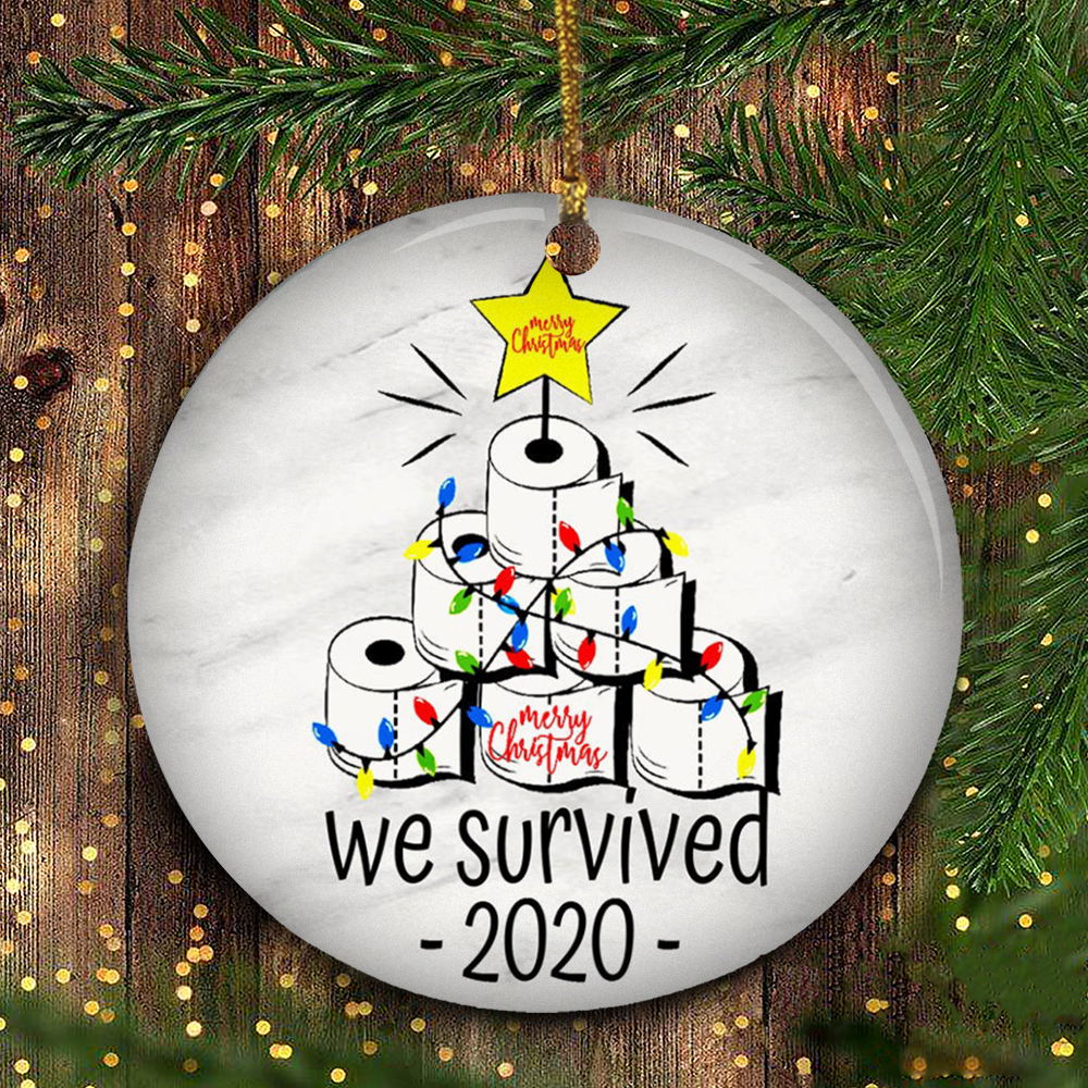 We Survived 2020 Ornament Funny Toilet Paper Christmas Ornament Black Christmas Tree Decor