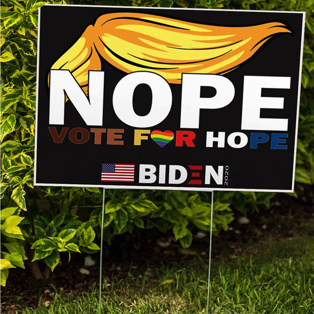Nope Vote For Hope Biden American Flag Lawn Yard LGBT Anti Trump Sign Kamala Biden Supporter