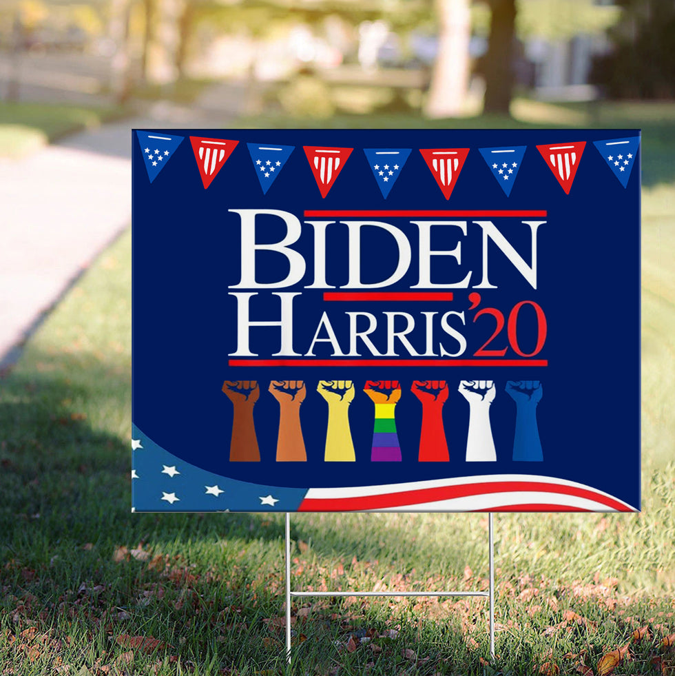 Biden Harris 2020 Yard Sign LGBT Support Biden President Elect Campaign BLM Voter Lawn Sign For Democrats