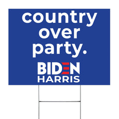 Country Over Party Biden Harris Yard Sign Political  Campaign Biden For American President 2020