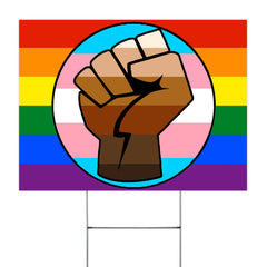 Pride Support Fist Rainbow Yard Sign LGBT Gay Trans Campaign Lawn Signs