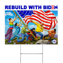 Rebuild With Biden Yard Sign Build Back Better Vote Save America Biden Harris For President