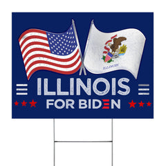 Illinois For Biden 2020 Lawn Sign For Early Voting Illinois Biden 2020 Trump 10 To 20 Yard Sign