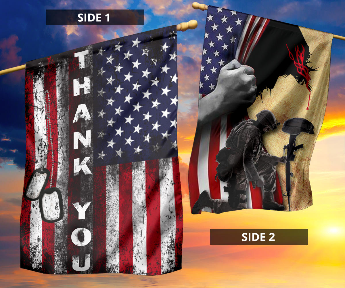 Jesus Christ And The Veteran Flag Thank YouThank You Veterans Decorative