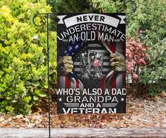 Never Underestimate An Old Man Who's Also A Dad Grandpa And A Veteran Flag Gift For Veteran