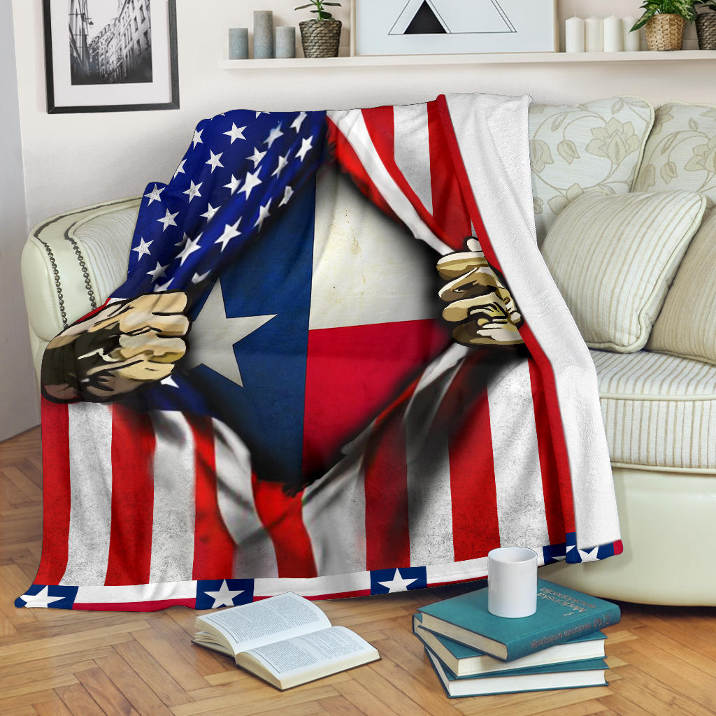 Texas Inside American Flag Blanket Patriotic Gift For Her And Him