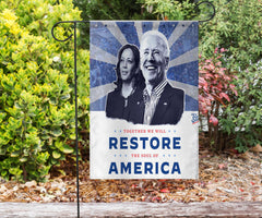 Biden Harris Together We Will Restore The Soul American Flag Voting Democratic President 2020