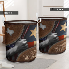 Texas U.S State Flag One State Still Under God Laundry Basket Home Goods Texas State Merch