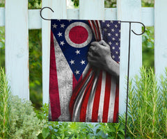 American And Ohio Flag Garden Decoration