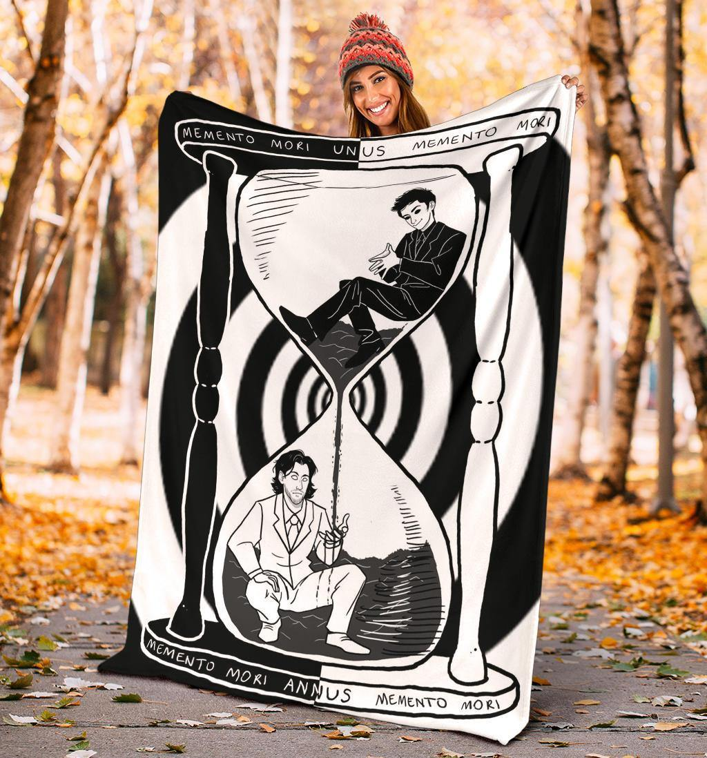 Unus Annus Memento Mori Fleece Blanket Unus Annus Hourglass Blanket Xmas Gift For Brother - Pfyshop.com