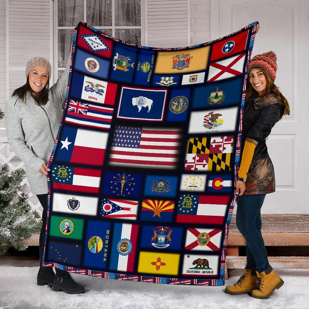 US Territory Flag USA States Flags Fleece Blanket  USA States Flags Patriot Merch Gift - Pfyshop.com
