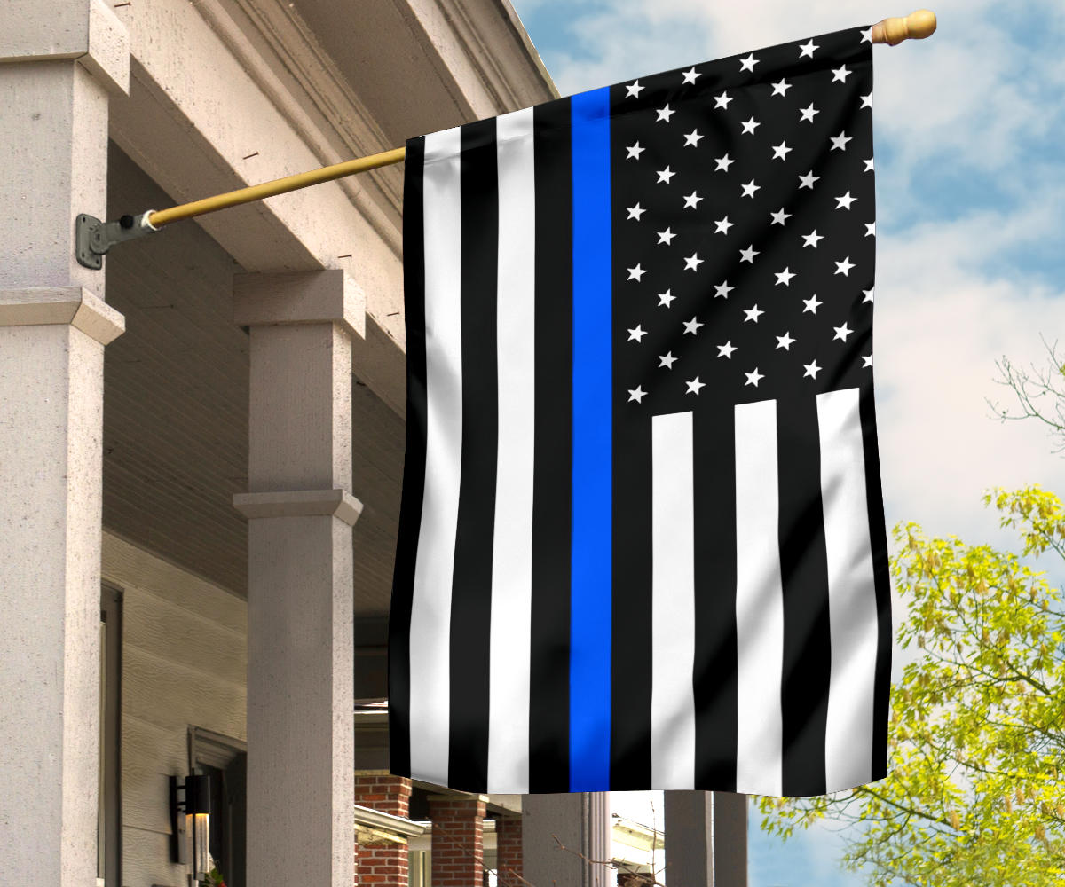 Thin Blue Line Flag With Stars And Stripes - Black White And Blue American Police Flag