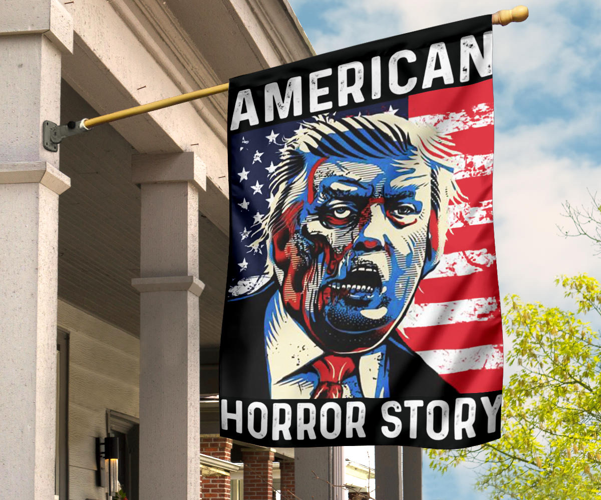 Zombie Donald Trump American Horror Story Flag Funny Against Trump Re-Election Halloween Decor
