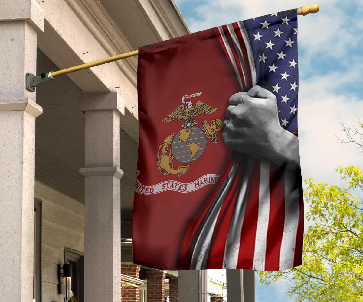 U.S Marine Corps Flag Inside American Flag Patriotic Welcome Holiday 4Th July Decor In-Outdoor