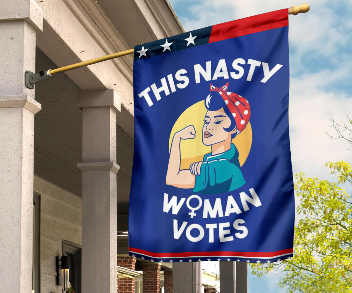 This Nasty Women Votes Flag Kamala Harris Liberal Feminist For Biden U.S President Campaign
