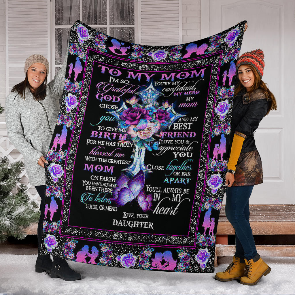 Cross Floral To My Mom Fleece Blanket Soft Christian Mothers Day Gift From Daughter