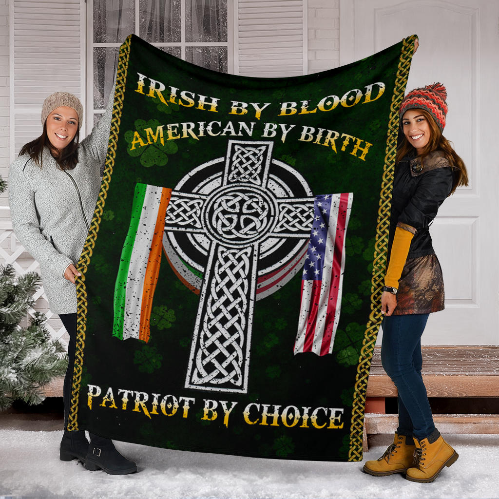 Irish American Flag Shamrock Fleece Blanket By Blood American By Birth St Patrick's Irish Gift