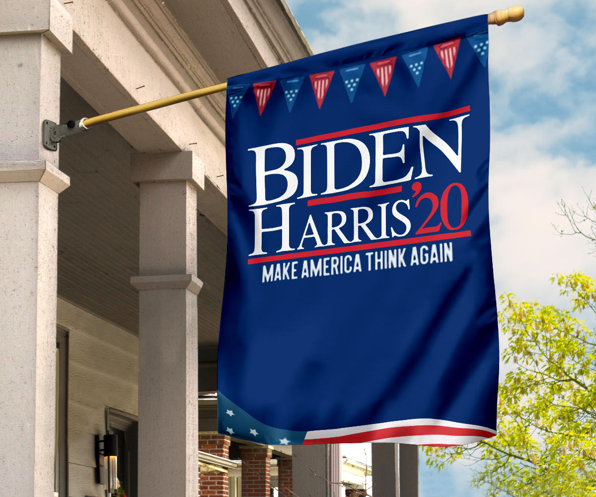Biden Harris's Make America Think Again Flag Biden Campaign Slogan Biden 2020 Flag U.S President
