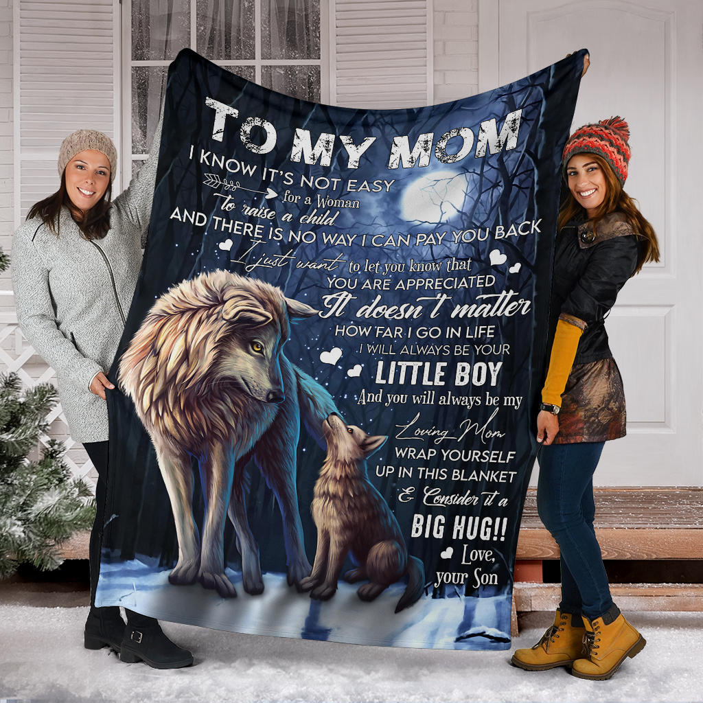 Wolf To My Mom Fleece Blanket Mother's Day Sentimental Gift For Mom From Son