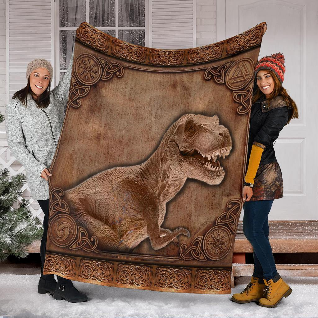 T-Rex Fleece Blanket Wood Graphic Unique 3D Design Soft Blanket - Pfyshop.com