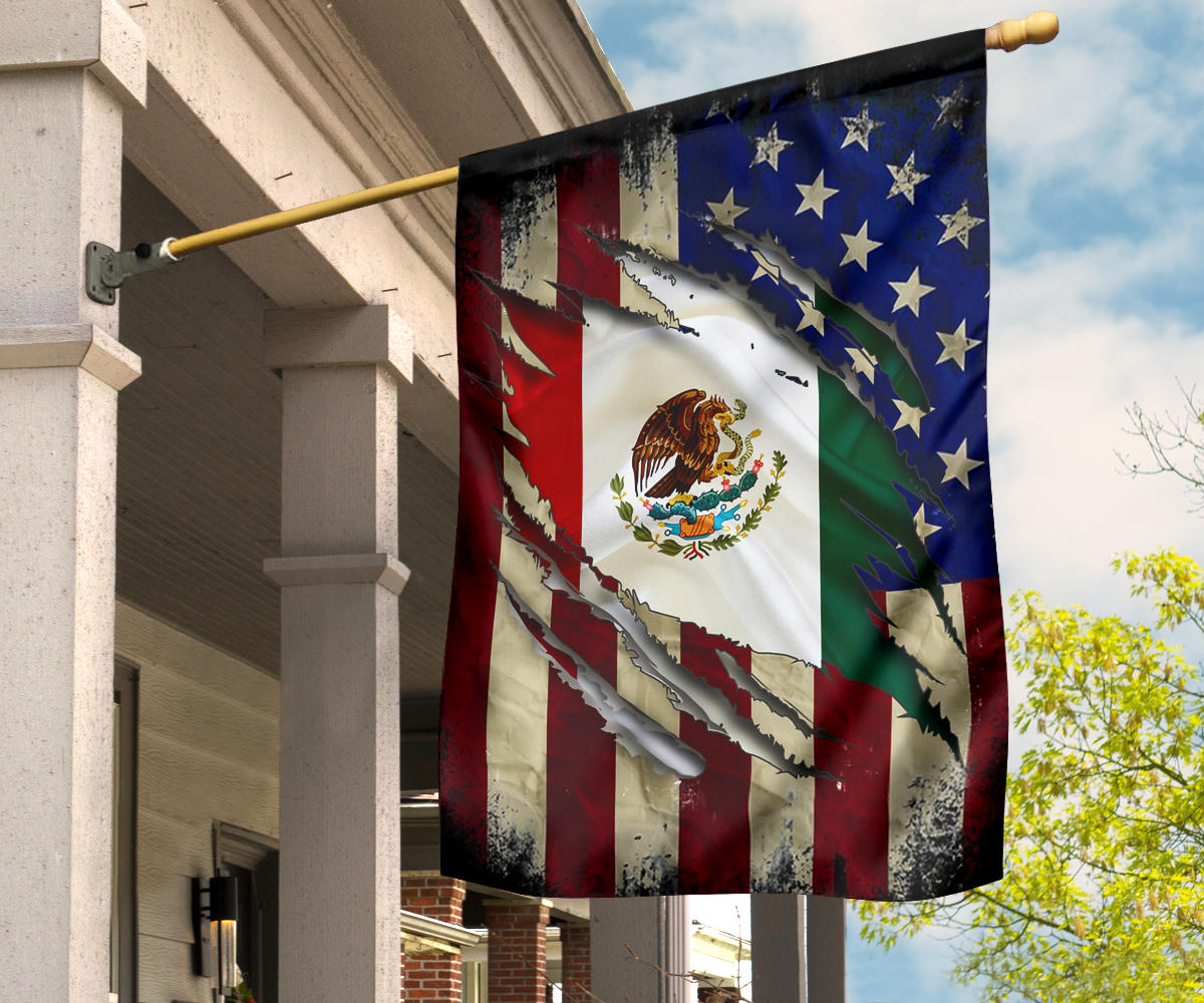 USA Mexico Combination Flag Mexican American Friendship Patriotic Flag