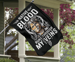 Native Blood Runs Through My Veins Flag Native American Flag Front Yard Decor Mexican Gifts