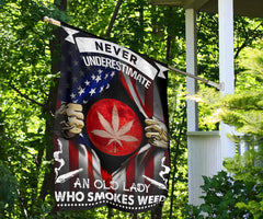 Never Underestimate An Old Lady Who Smokes Weed Flag Cannabis Cool Marijuana Flag