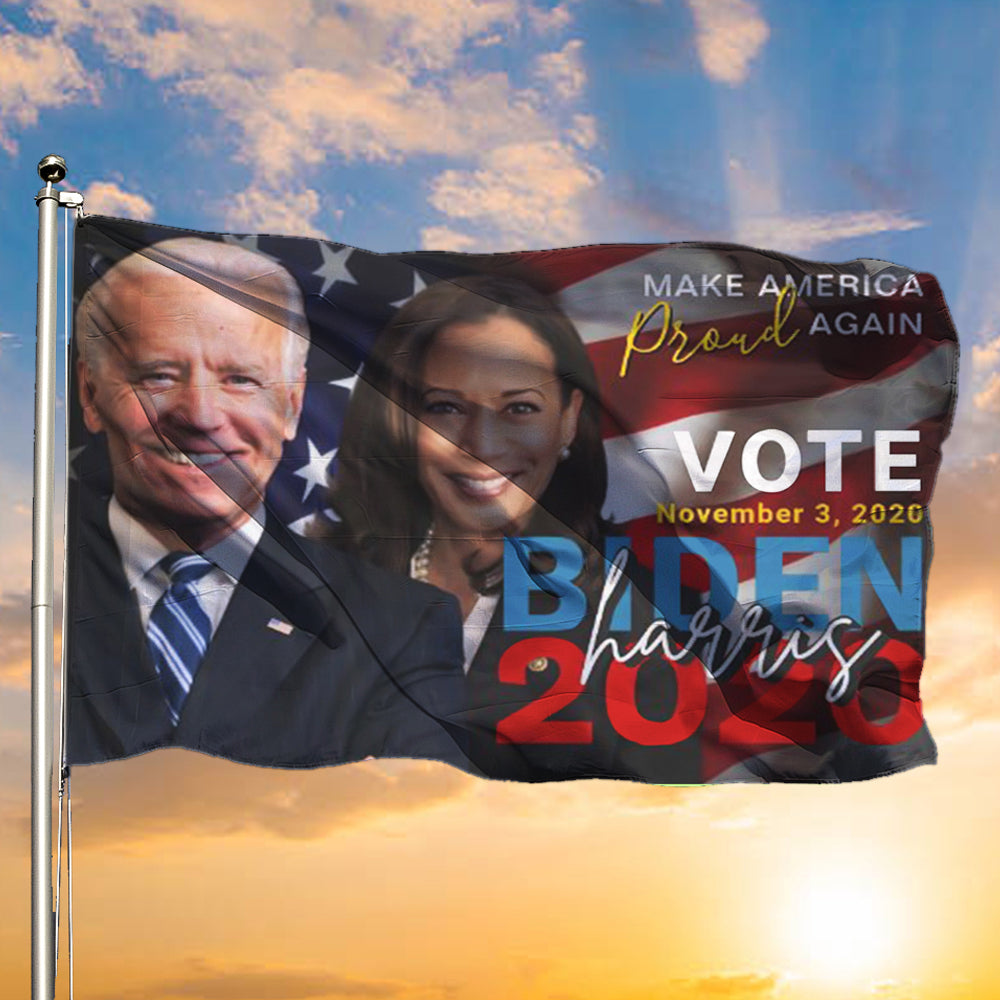 Make America Proud Again Vote Biden Harris 2020 U.S.A Flag Patriotic Gifts Presidents