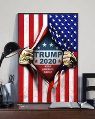 Trump 2020 Keep America Great Poster Inside American Flag MAGA Us Patriotic Support Trump 2020