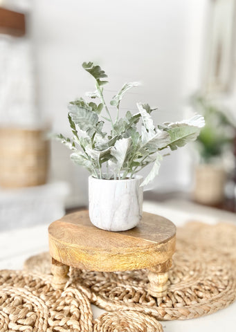 Wood Riser and Plant in Faux Marble Pot
