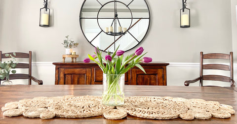 Jute runner on table with tulips