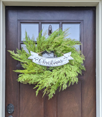 "24"" wreath with vintage christmas sign"