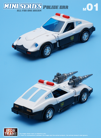 Irontrans Mini Series M01 Police Car (Prowl) / M02 Thunderbolt (Bluestreak) /M03 Smog (Smokescrean) 3 in 1 Legends Class 10cm / 4""