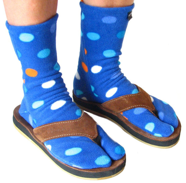 Blue Dots Fleece Tabi in Sandals