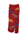 Children's Tabi Socks Red With 3 Colour Dinosaurs