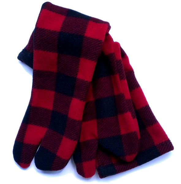 Red Plaid Fleece Tabi Socks