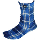 Invisible foot in Blue Plaid Fleece Tabi