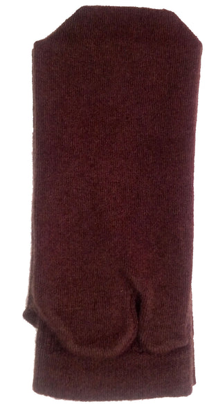 Dark Brown Cashmere Tabi Socks folded